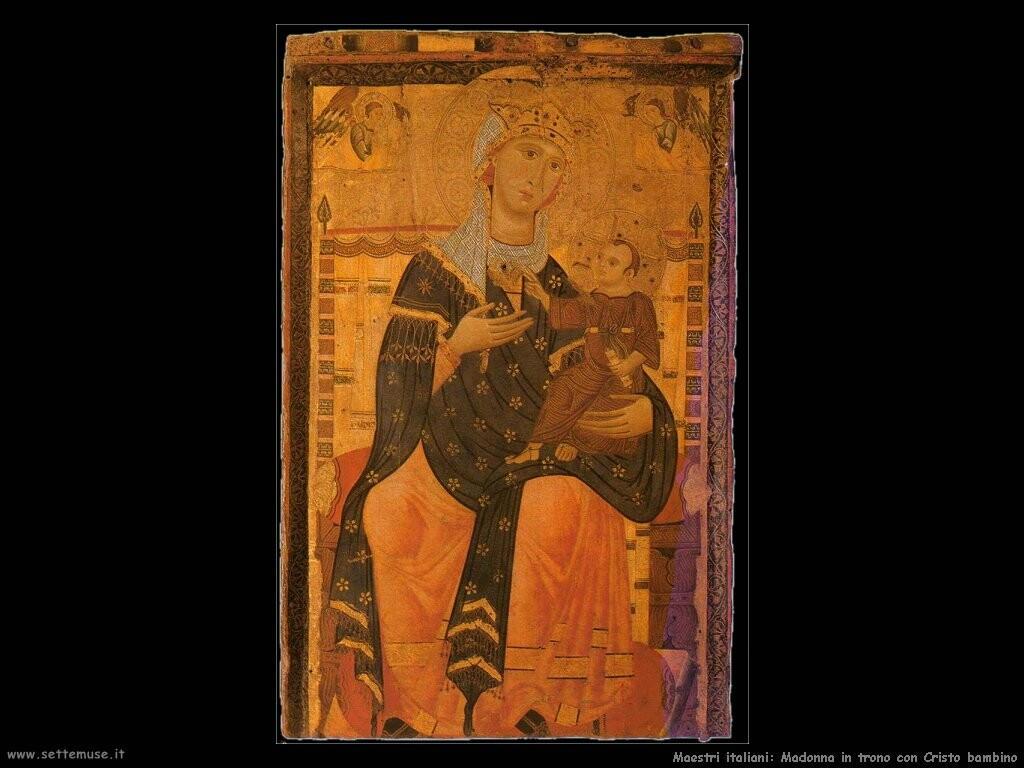 maestri sconosciuti italiani Madonna in trono col Cristo bambino