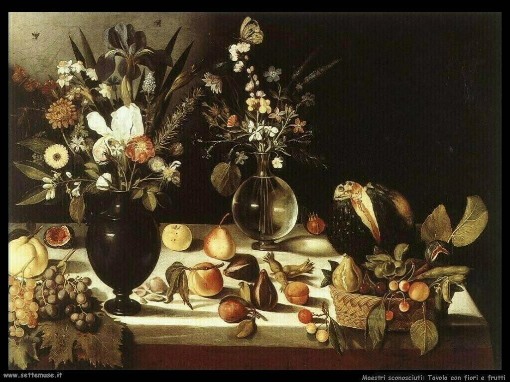 maestri sconosciuti Tavolo con fiori e frutti