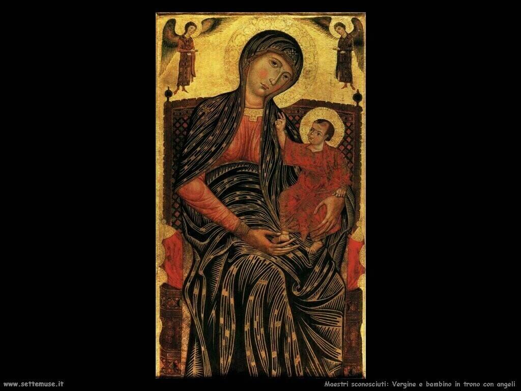 maestri sconosciuti Vergine e bambino in trono
