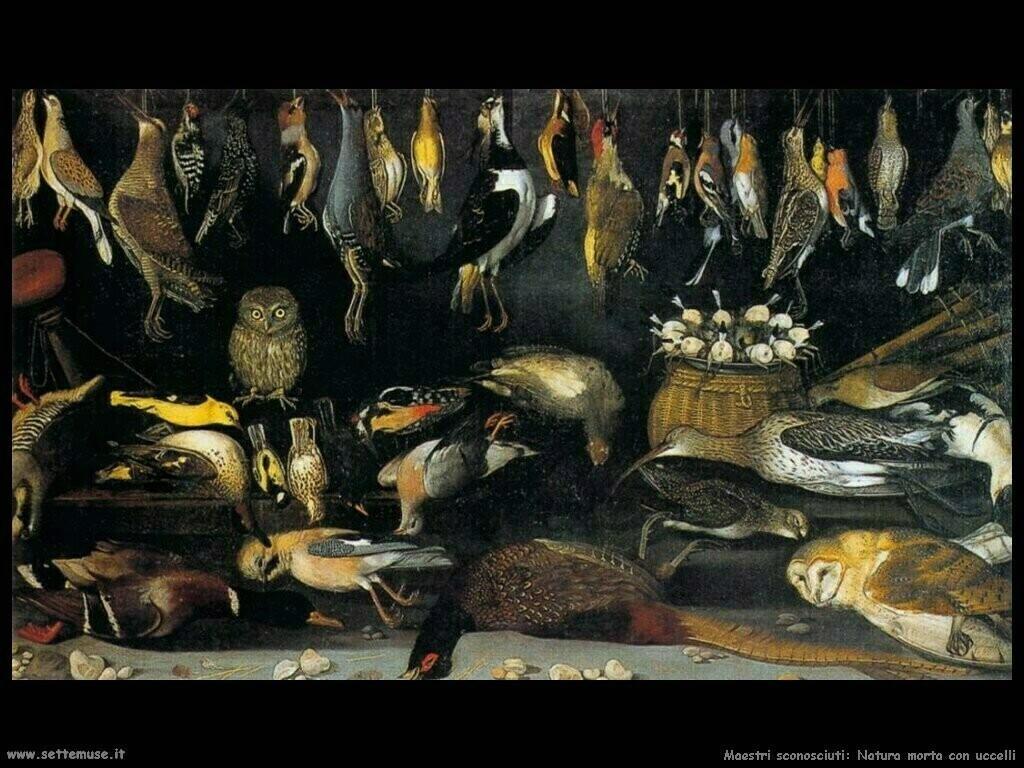 maestri sconosciuti Natura morta con uccelli