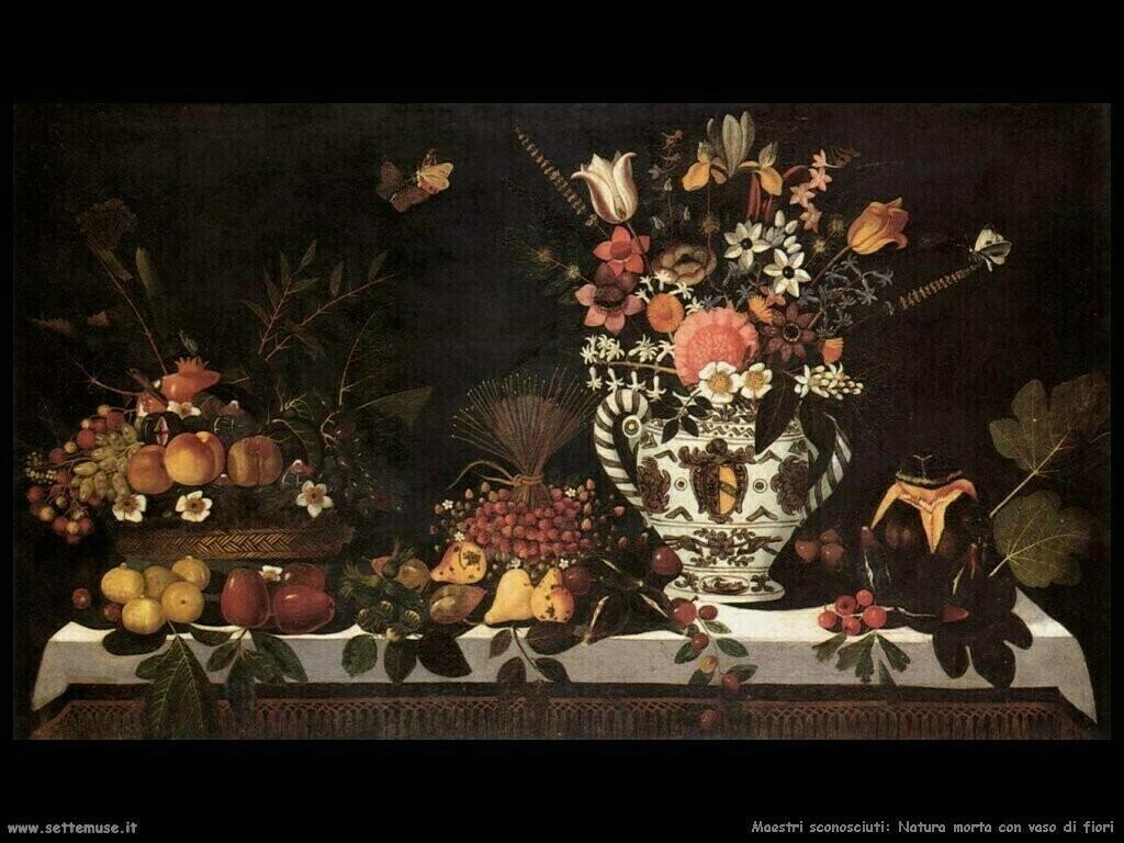 maestri sconosciuti atura morta con vaso di fiori