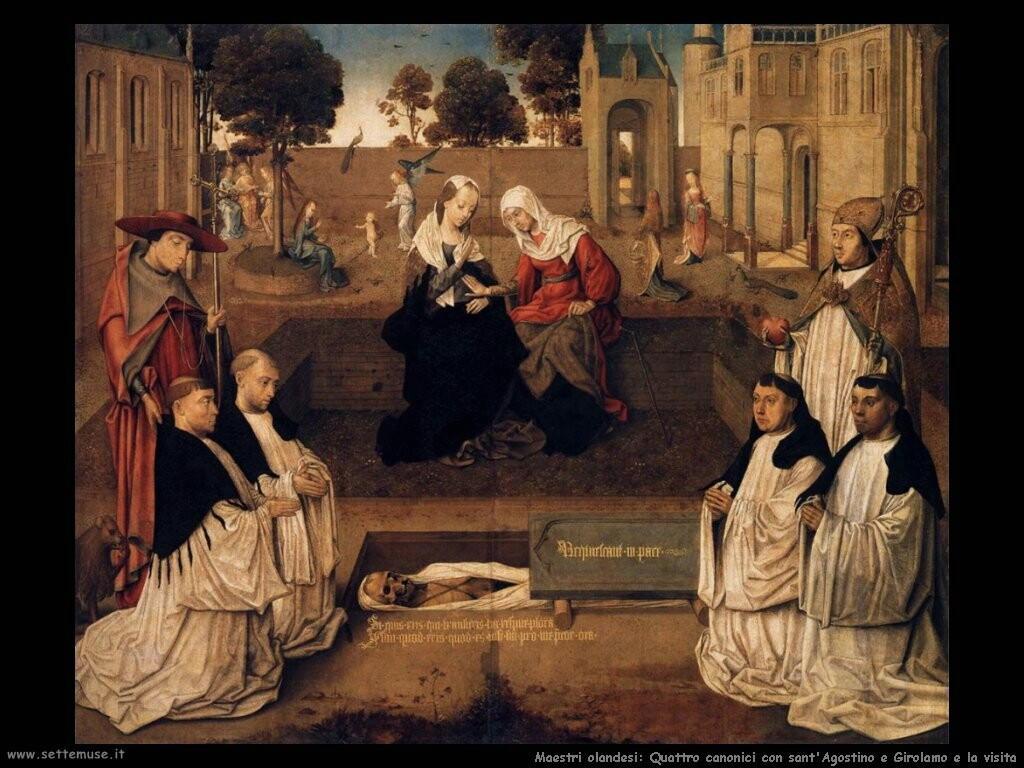 maestri sconosciuti olandesi Quattro canonici con sant'Agostino e Gerolamo