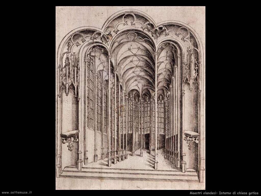 olandesi Interno di chiesa gotica