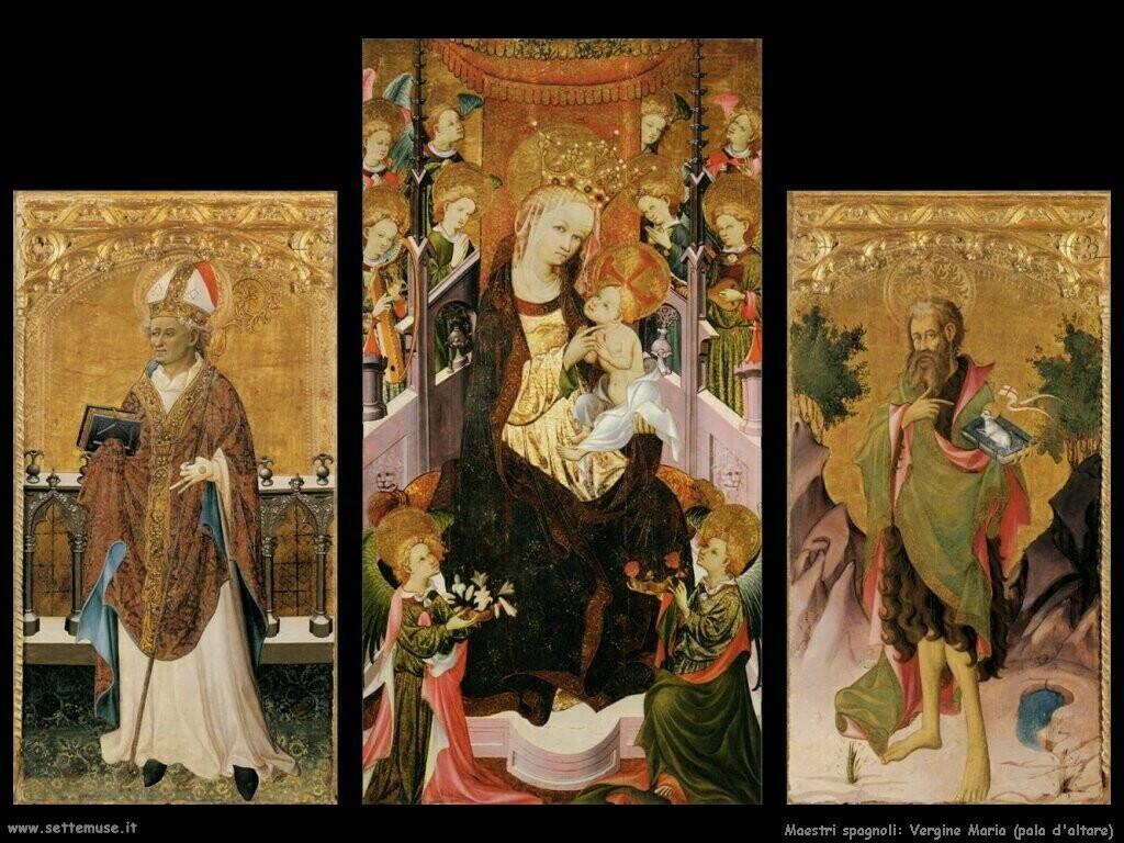 maestri sconosciuti spagnoli Pala d'altare con la Vergine