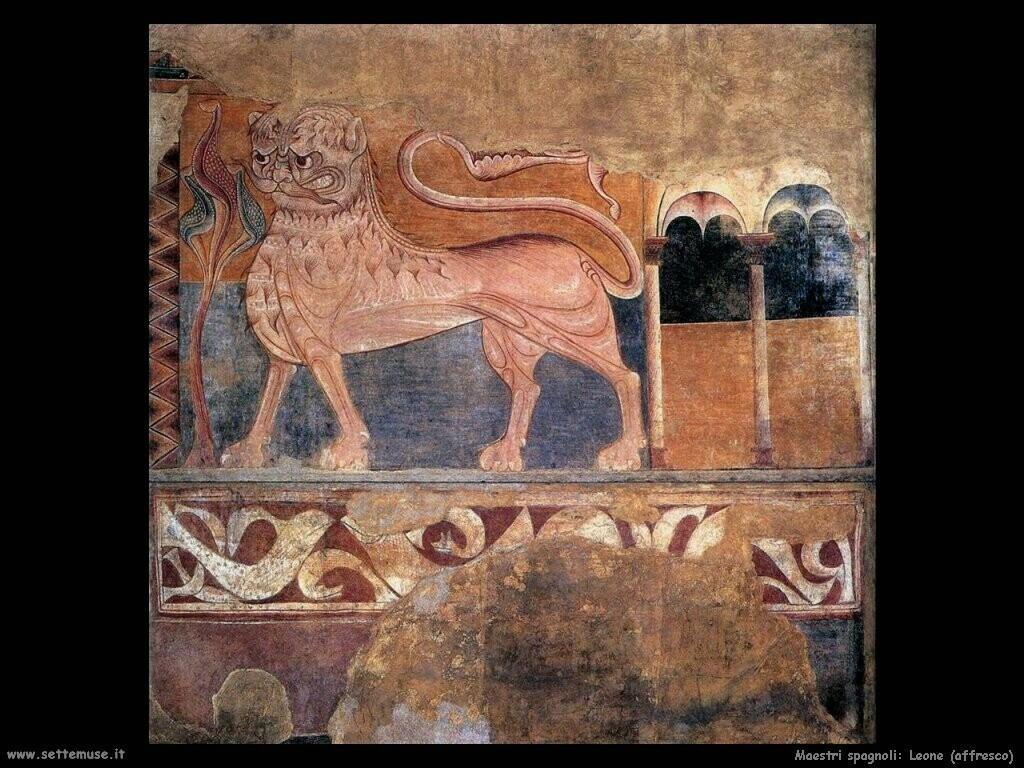maestri sconosciuti spagnoli Leone dipinto su una parete