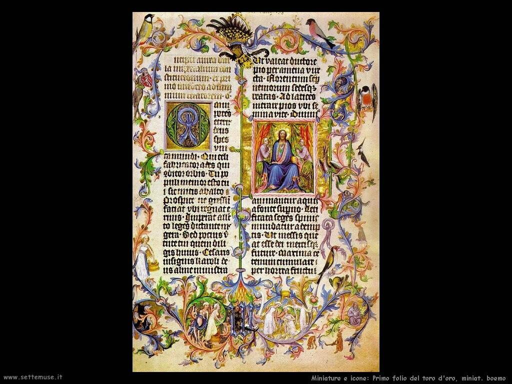 miniature boeme  Primo folio del toro d'oro