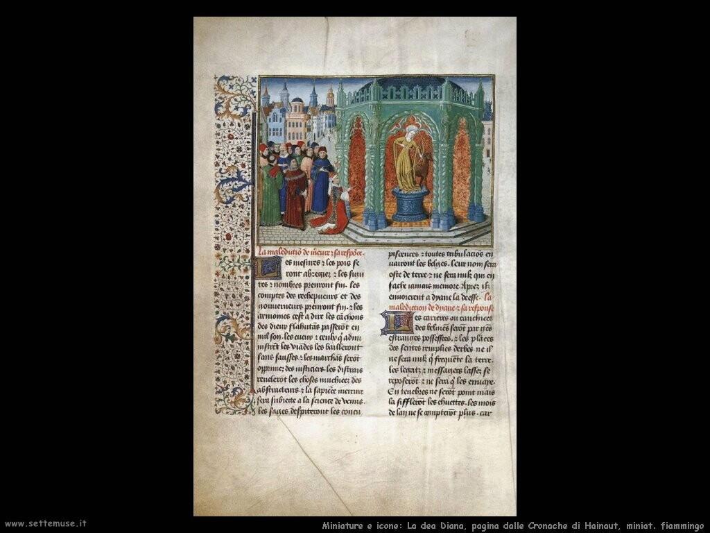 miniature fiamminghe La dea Diana, pagina da Cronache di Hainaut