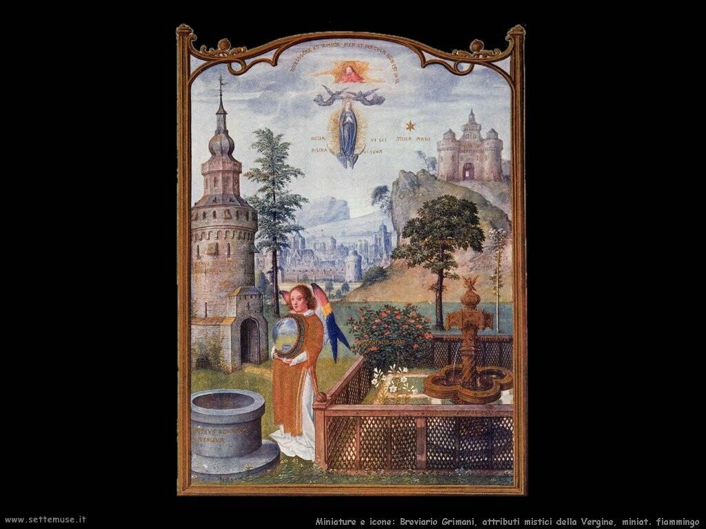 miniature fiamminghe Breviario Grimani Mistici attributi della vergine