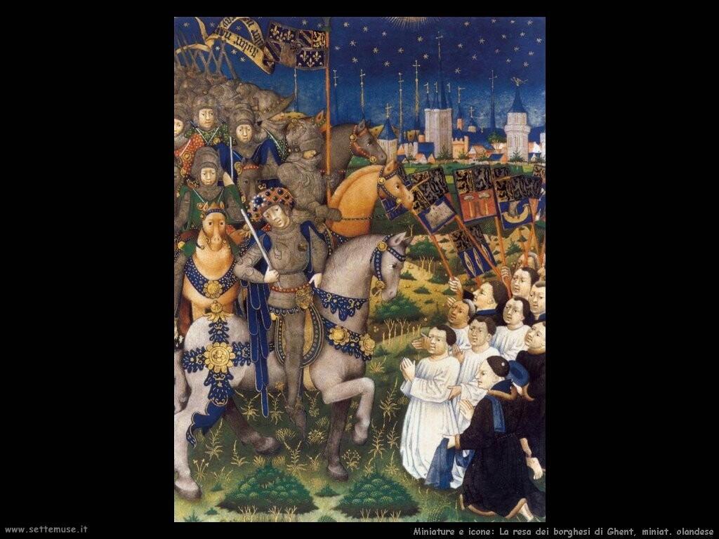 miniature olandesi  Arresa di Burghers di Ghent