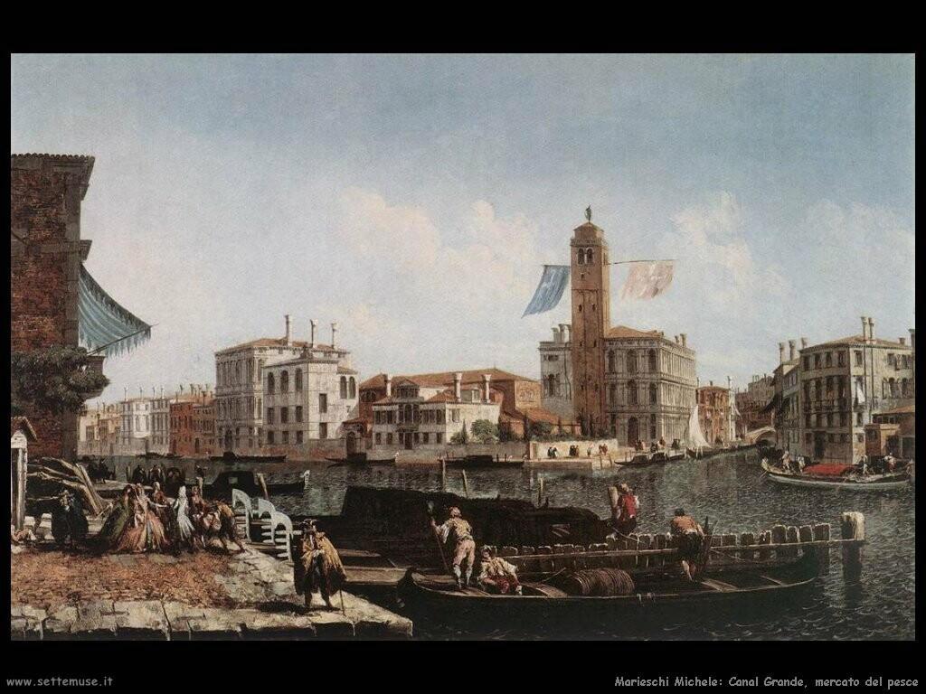 marieschi michele  Canal Grande con mercato del pesce
