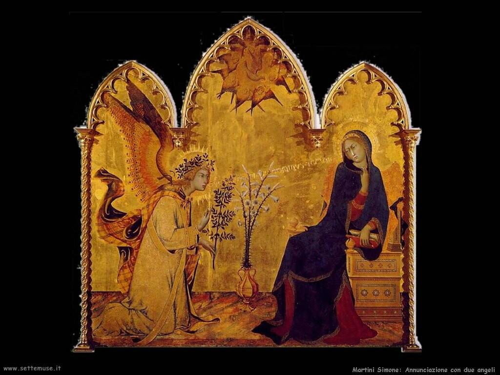 martini simone Annunciazione e due santi