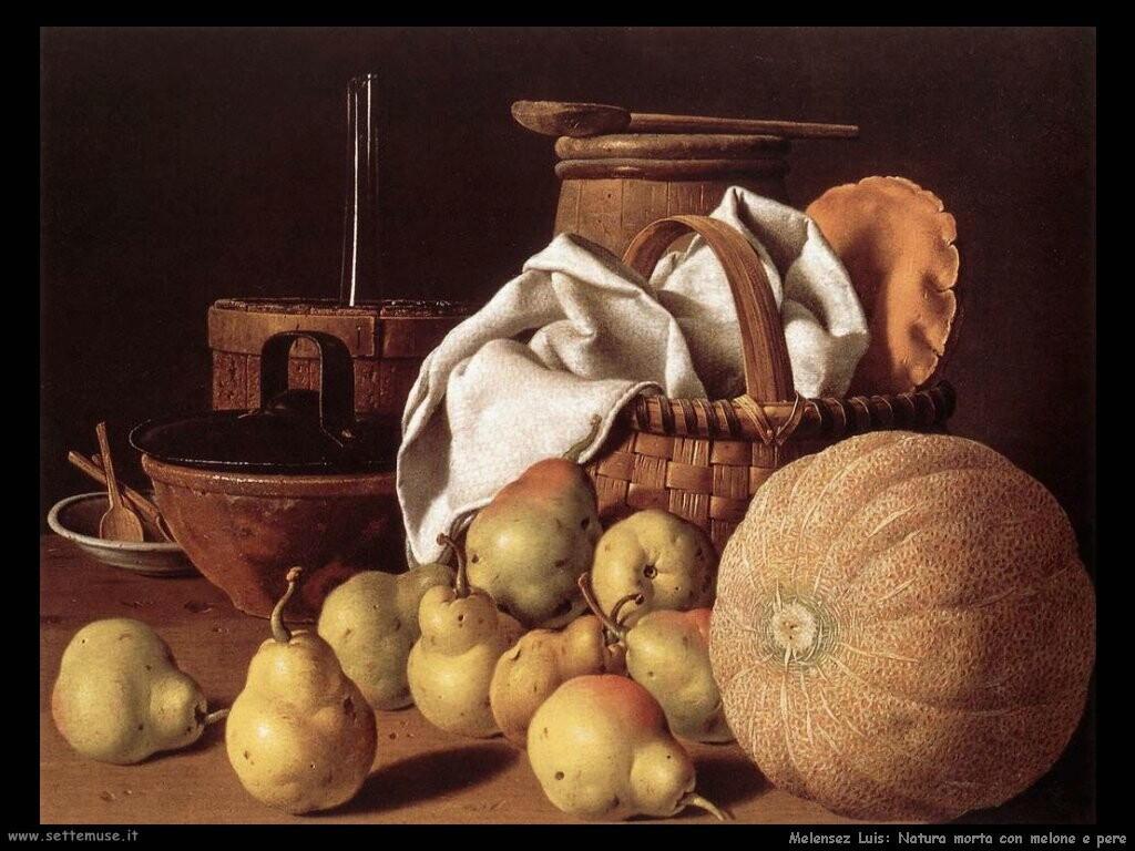 melendez luis Natura morta con melone e pere