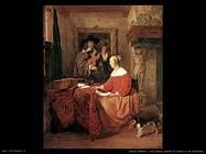 metsu gabriel  Una donna seduta al tavolo e un uomo