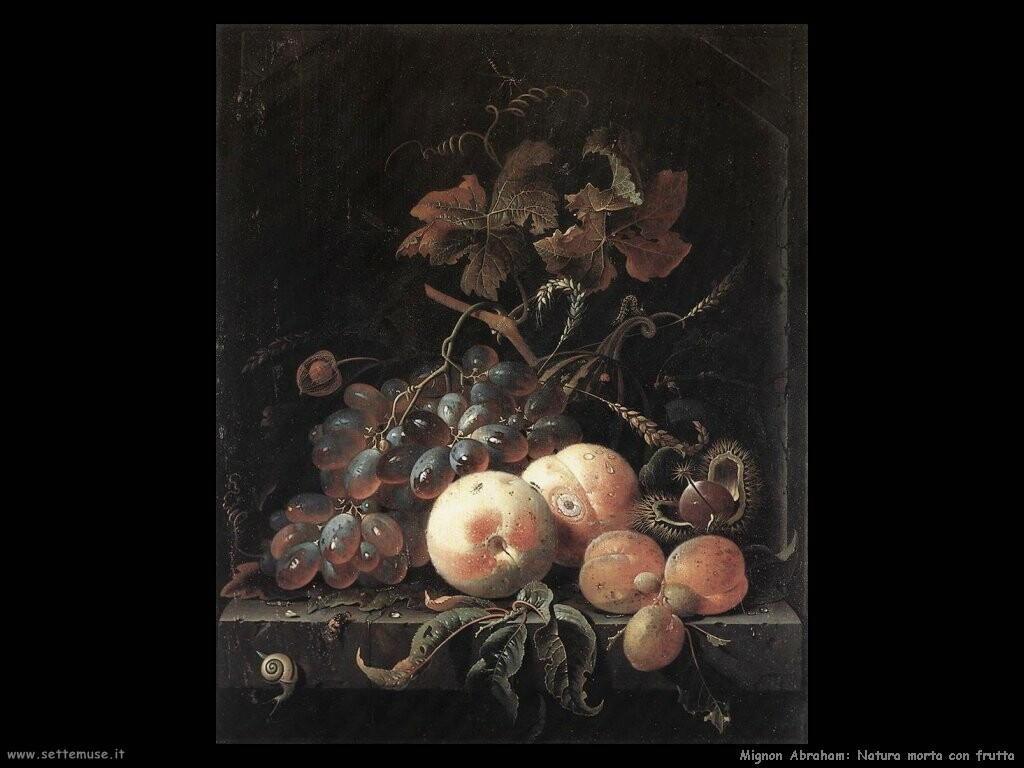 mignon abraham Natura morta con frutta