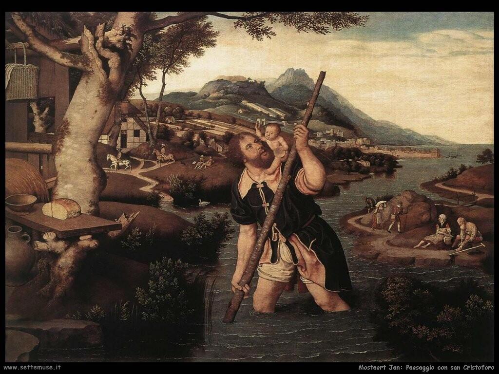 mostaert jan  Paesaggio con san Cristoforo (1520)