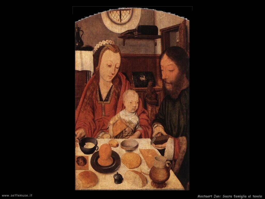 mostaert jan Sacra famiglia al tavolo