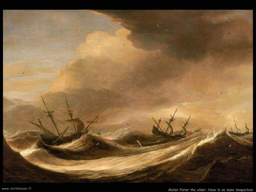 Mulier Pieter The Elder Ships In A Heavy Sea Running Before