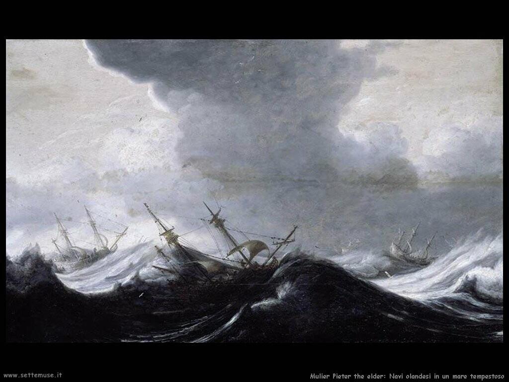 mulier pieter the elder Un imbarcazione olandese in mare burrascoso