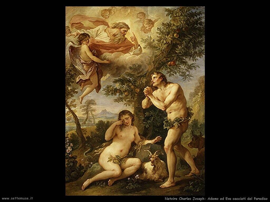 natoire charles joseph  Adamo ed Eva cacciati dal paradiso