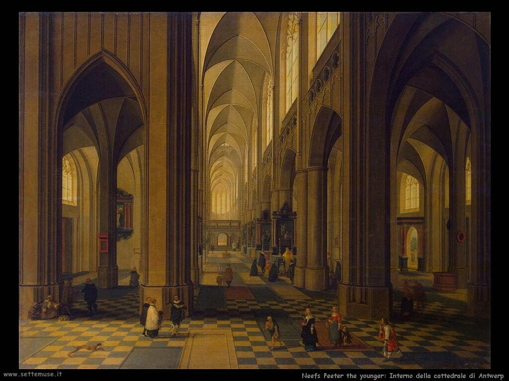 neefs peeter the younger Interno di cattedrale in Antwerp