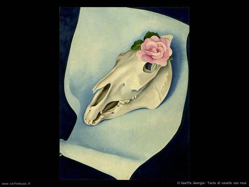 o_keeffe_georgia Testa di cavallo con rose rosse