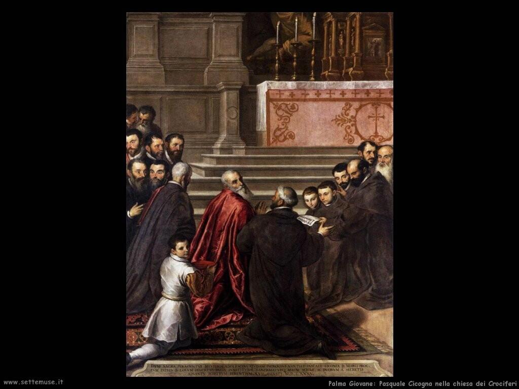 palma giovane  Pasquale Cicogna celebra messa nell'oratorio