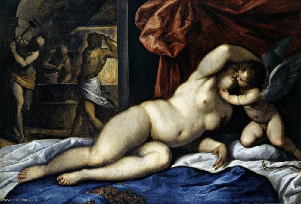 palma giovane Venere e Cupido alla forgia di Vulcano