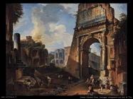 pannini giovanni paolo Paesaggio di fantasia con arco di Tito