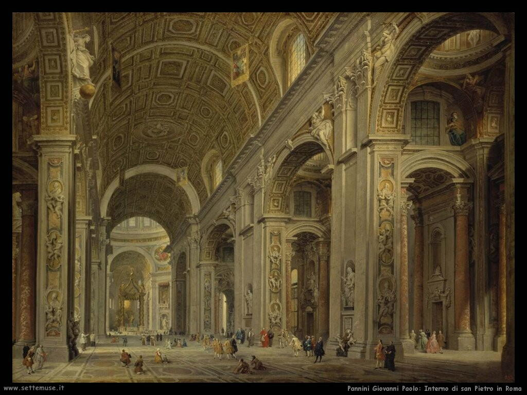 pannini giovanni paolo Interno di san Pietro in Roma