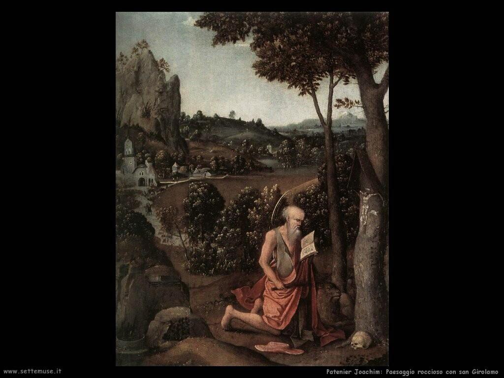 patenier joachim Paesaggio roccioso con san Girolamo