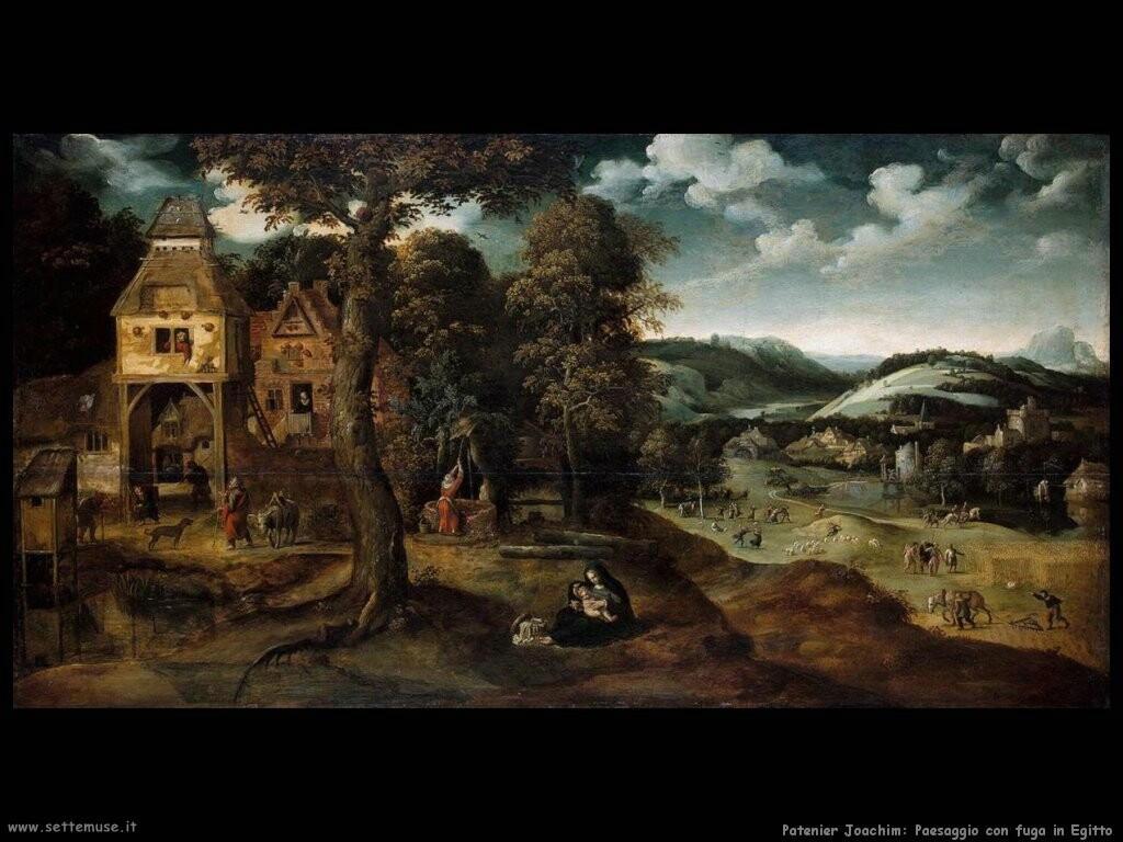 patenier joachim  Paesaggio con la fuga in Egitto