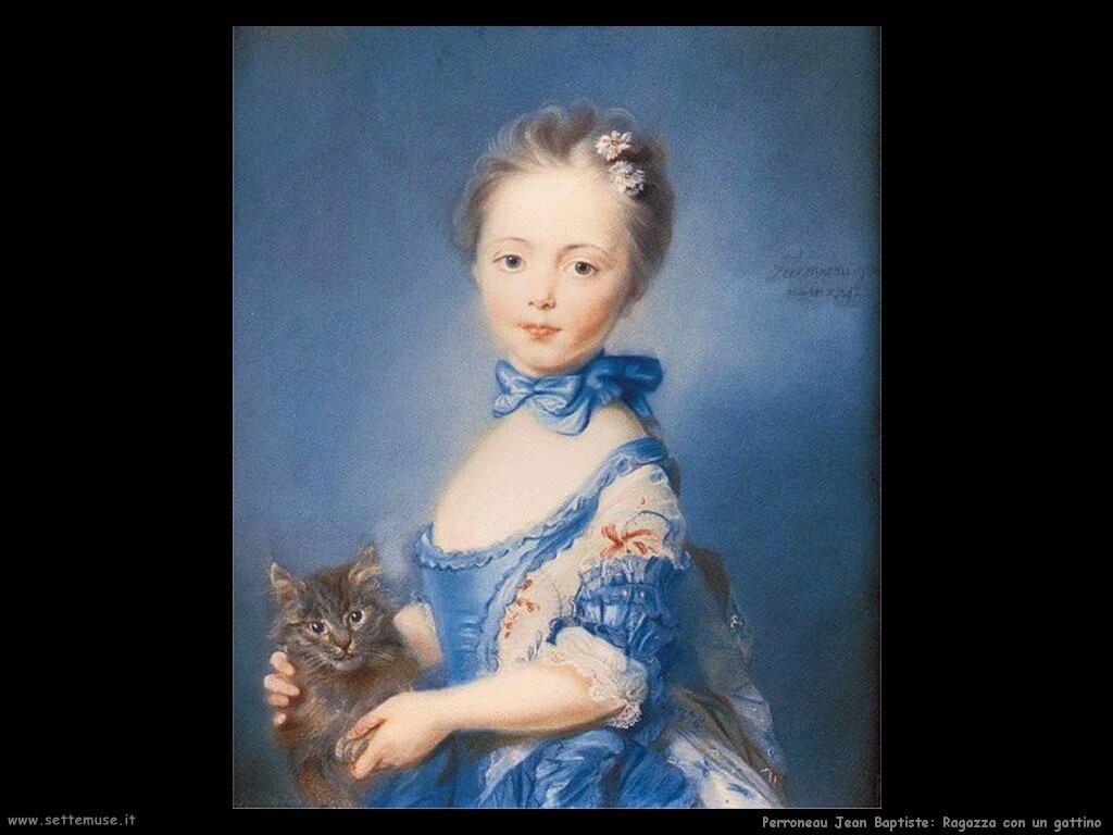 perroneau jean baptiste  Una ragazza col gattino