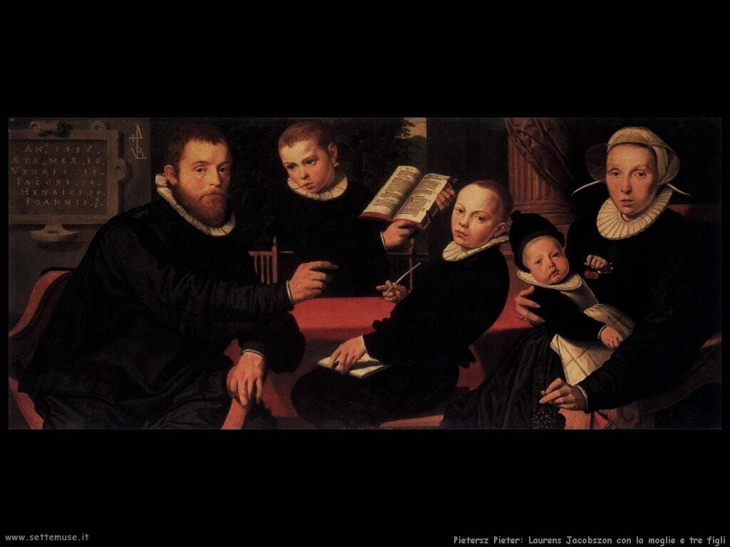 pietersz pieter Laurens Jacobszon con sua moglie e tre figli
