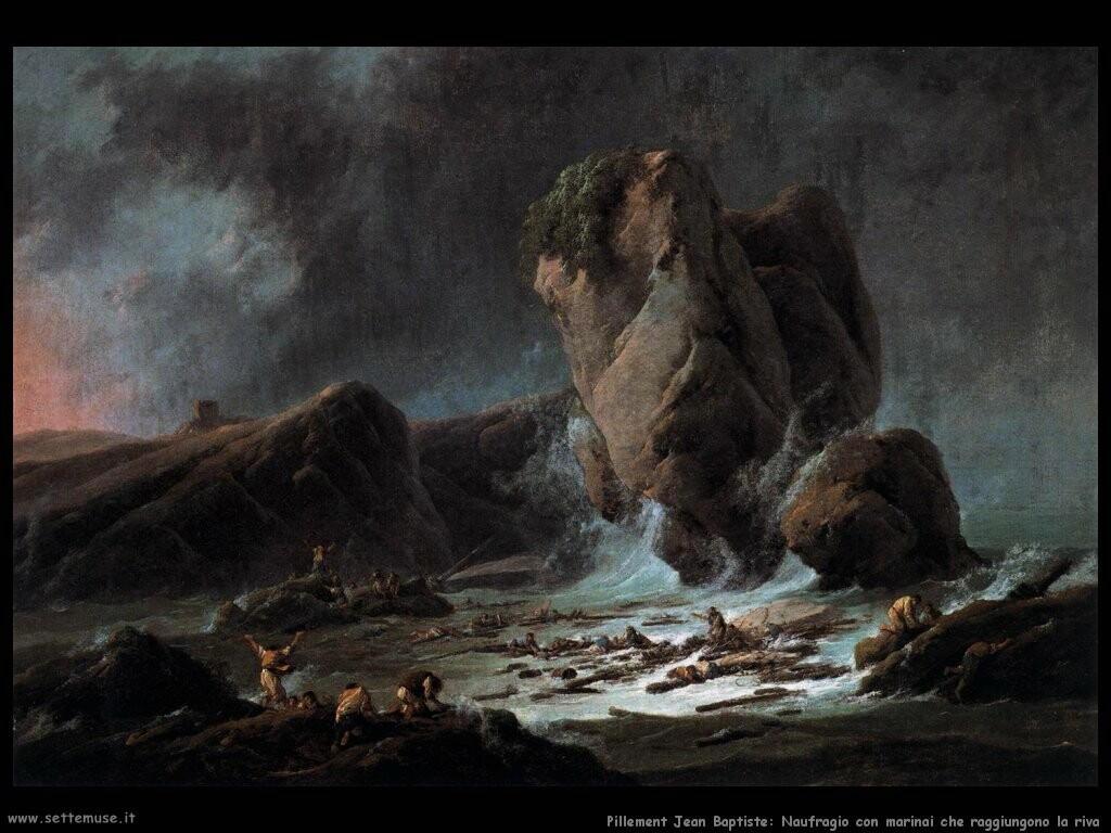pillement jean baptiste Naufragio con marinai che raggiungono la riva