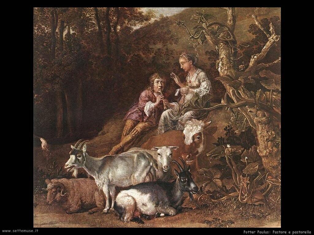 potter paulus  Paesaggio con pastorella e pastore