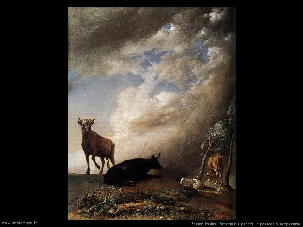 potter paulus Bestiame e pecore in paesaggio tempestoso