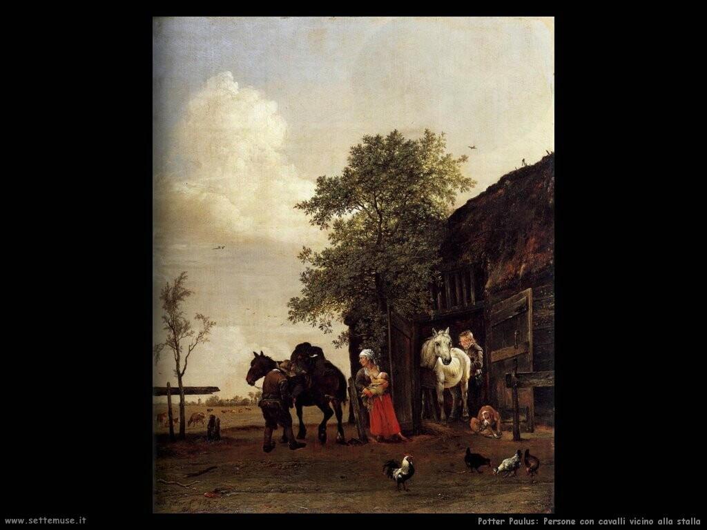potter paulus Persone con cavalli vicino alla stalla