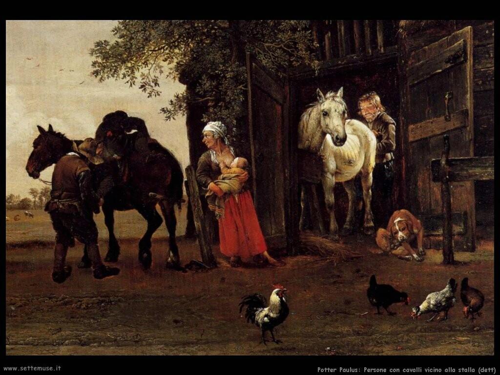 potter paulus Persone con cavalli vicino alla stalla (dett)