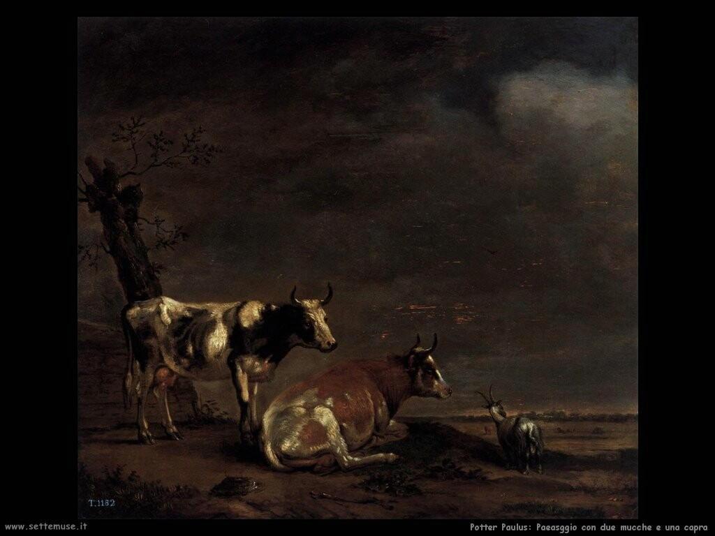 potter paulus Paesaggio con due mucche e una capra
