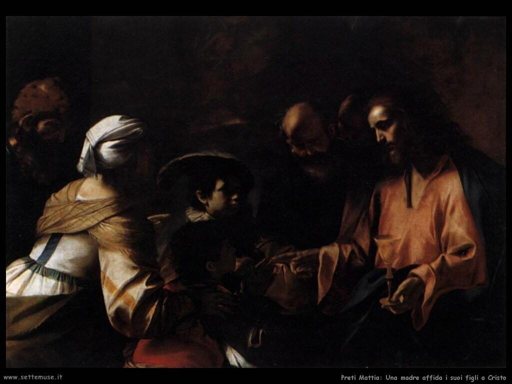preti_mattia_Una madre affida il figlio a Cristo