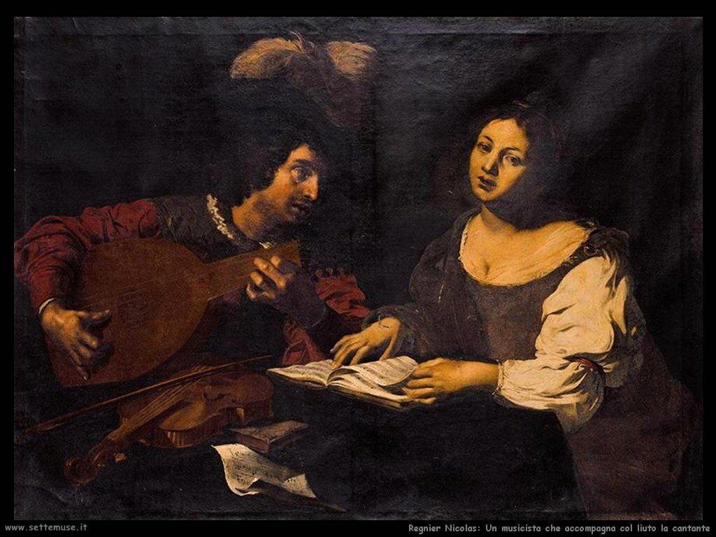 regnier nicolas Un musicista suona il liuto per la cantante