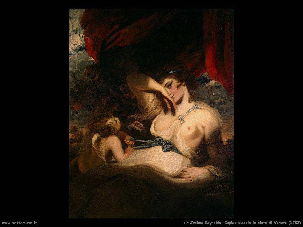 sir joshua reynolds Cupido slega la fascia di Venere