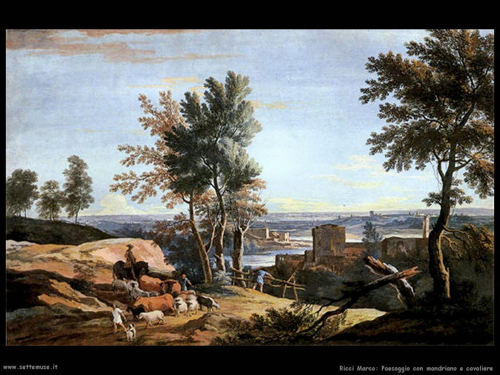 ricci marco Paesaggio con mandriano e cavaliere