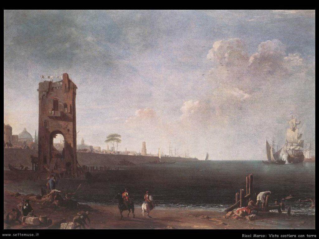ricci marco Vista della costa con torre