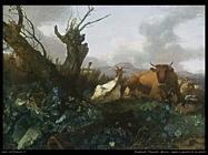 romeijn_willem_Mucca, capra e pecora in un pascolo