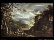 Rosa Salvator Paesaggio con fiume e Apollo