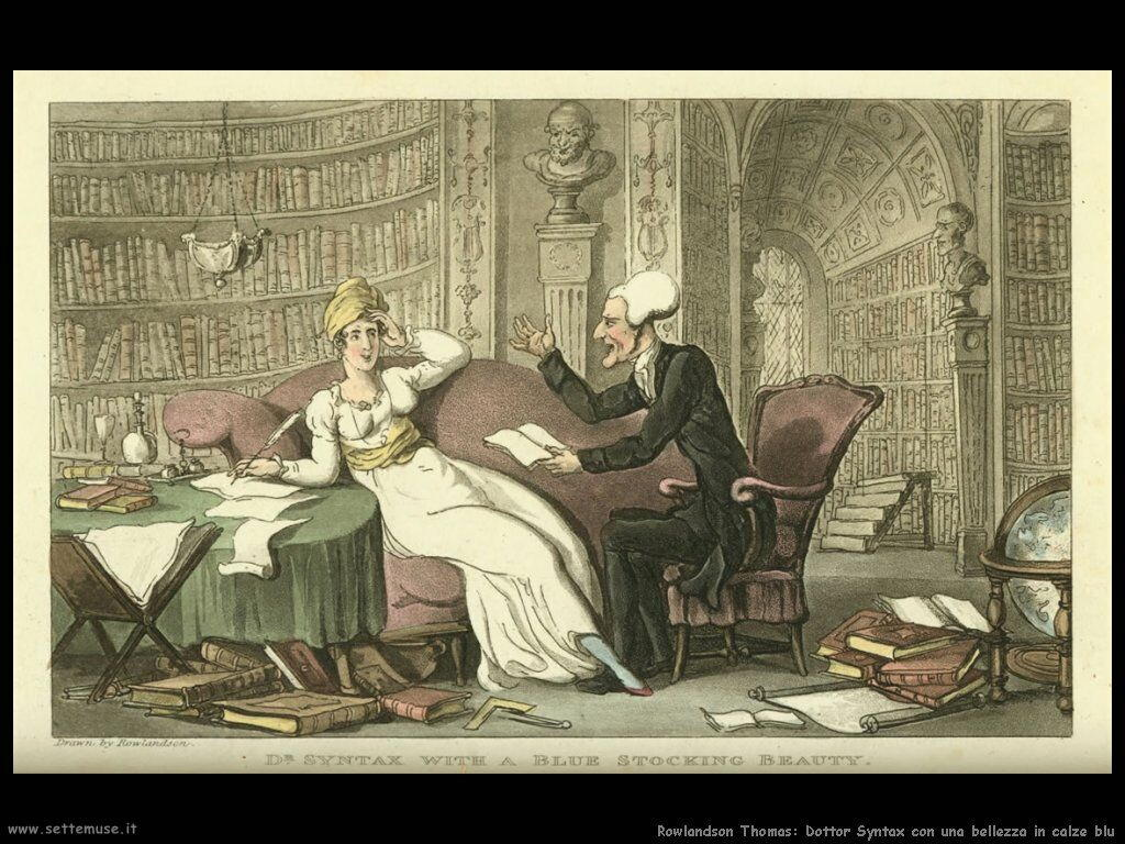 Rowlandson Thomas Sintax  with  a  blue  stocking  beauty