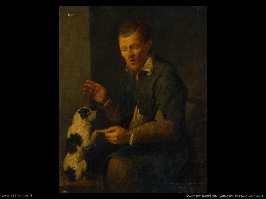Ryckaert David the Younger Contadino con il cane