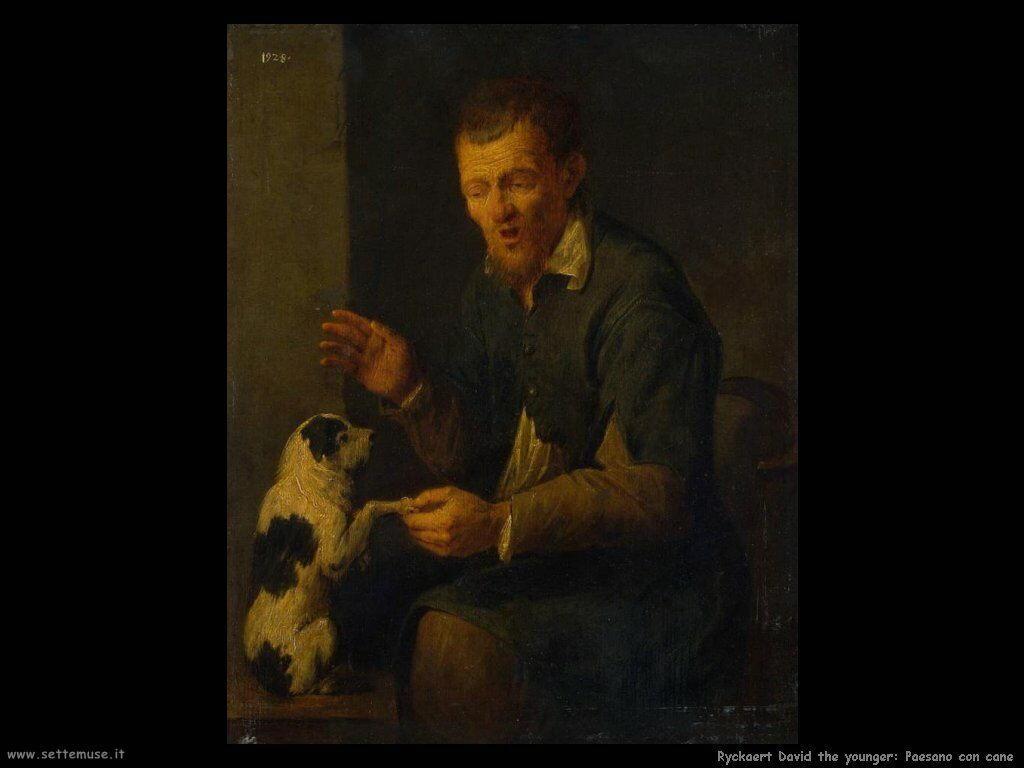 Ryckaert David the Younger Contadino con il cane