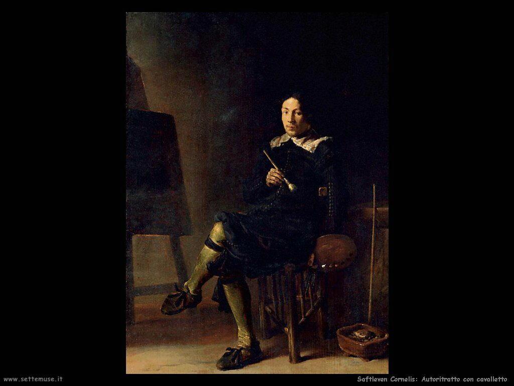 Saftleven Cornelis  Autoritratto con cavalletto